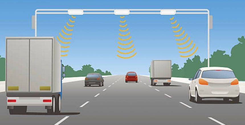 Highway communication system and vehicles, vector illustration